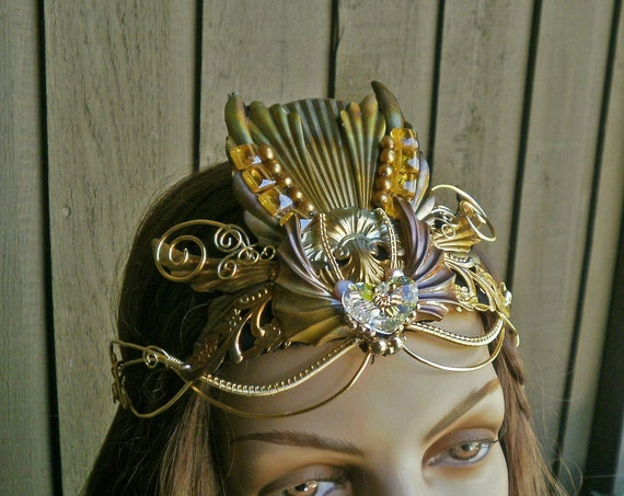 Gothic Steampunk Princess Crown with Swarovski Crystals Medium Size