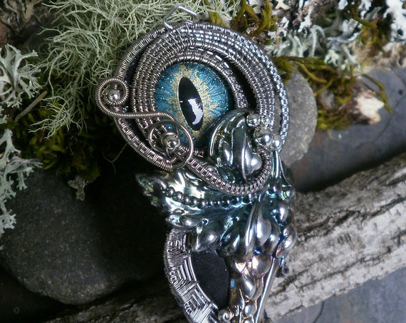 Gothic Steampunk Blue Green Evil Eye Pin Pendant