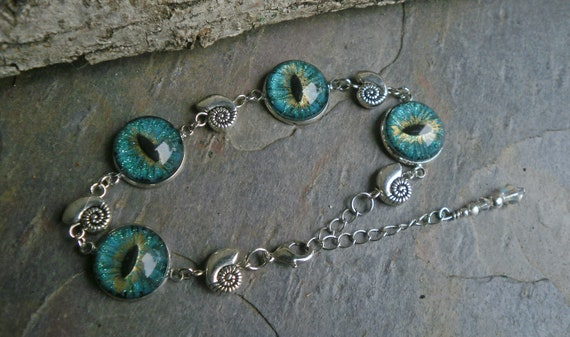 Gothic Steampunk Teal Evil Eye Link Bracelet Style 4 The Tiny Snails