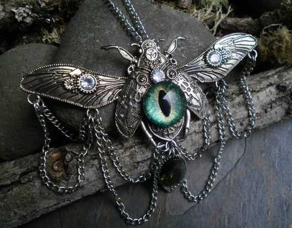 Gothic Steampunk Green Evil Eye Beetle Necklace with Green and Clear Cubic Zirconia and Chains