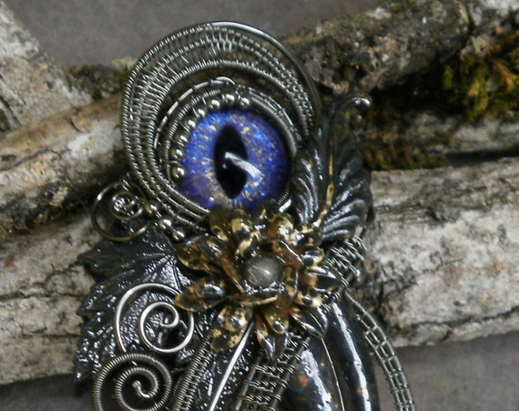 Gothic Steampunk Dark Botanical Pin Pendant Brooch