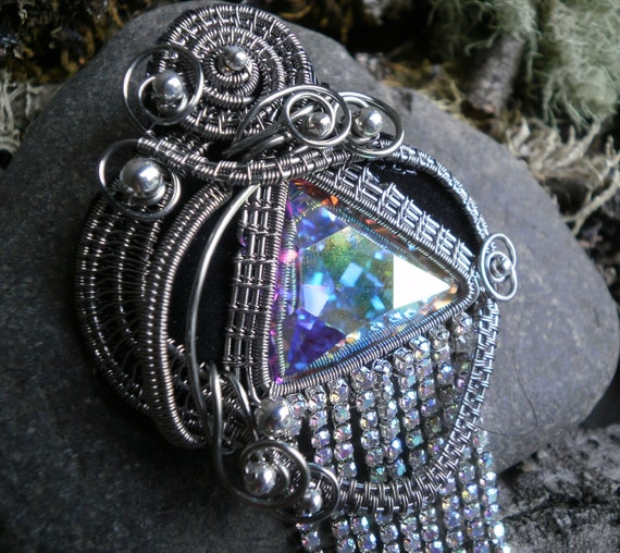 Twisted Sister Arts Woven Wire Pin Pendant with Rhinestones and Crystal Part 1