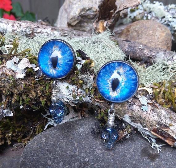 Gothic Steampunk Dragon Eye Earrings in Blue with Skull Drops