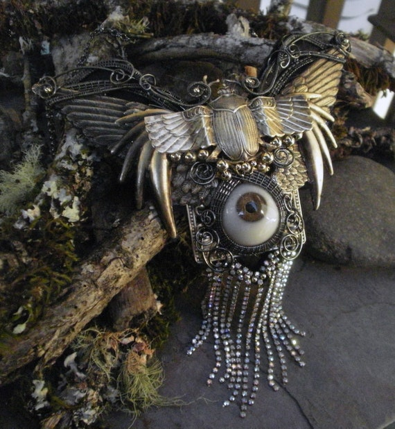 Gothic Steampunk Scarab Wing Necklace with Rhinestone Fringe and Prosthetic Eye