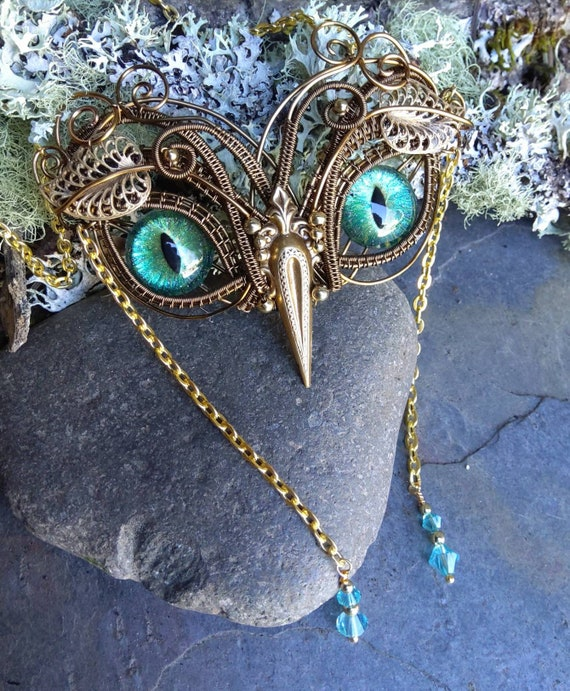 Gothic Steampunk Antique Bronze Baby Owl with Turquoise Green Eyes