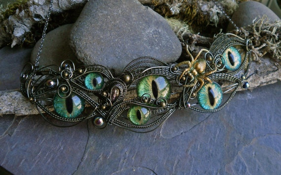 Gothic Steampunk Blue Green and Green Eyes Necklace
