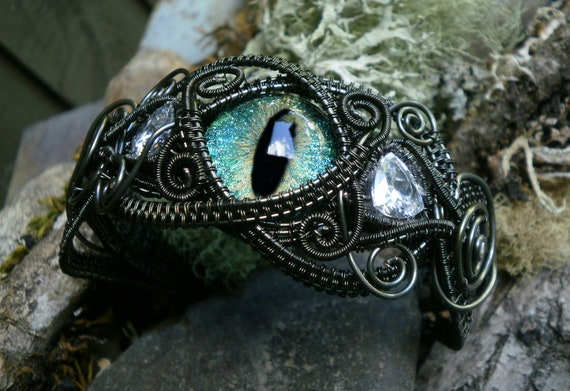 Gothic Steampunk Blue Green Eye Bracelet Cuff