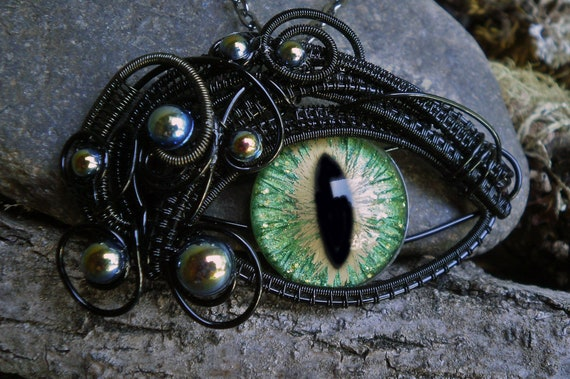 Gothic Steampunk Large Green Eye Pendant