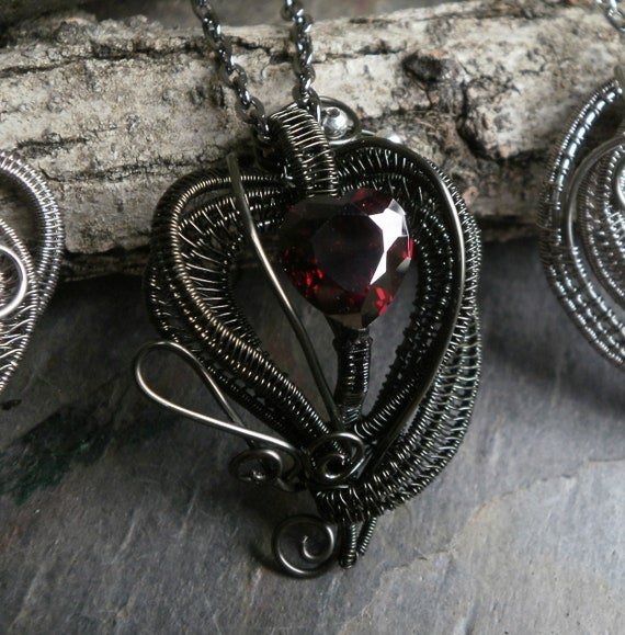 Gothic Dark Heart Pendant with Blood Red Cubic Zirconia