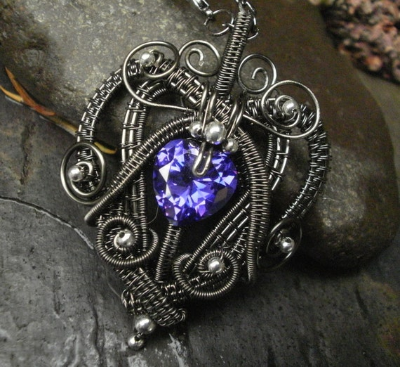 SOLD! Gothic Victorian Heart Pendant with Violet Purple Cubic Zirconia