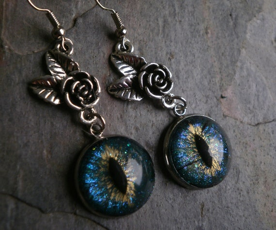 Gothic Steampunk Dark Turquoise Blue Teal Evil Eye Earrring Style 3 The Rose