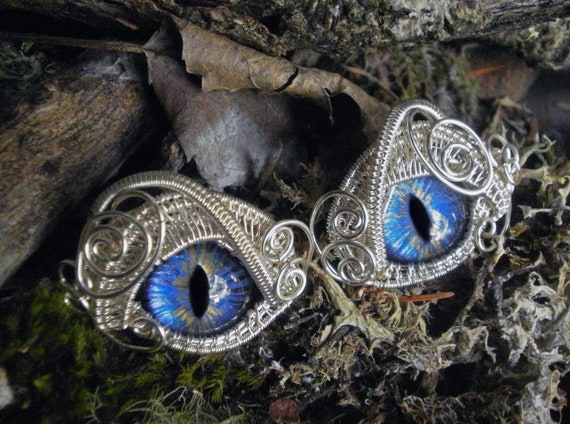 Gothic Steampunk Bright Blue Eye Cuff Links