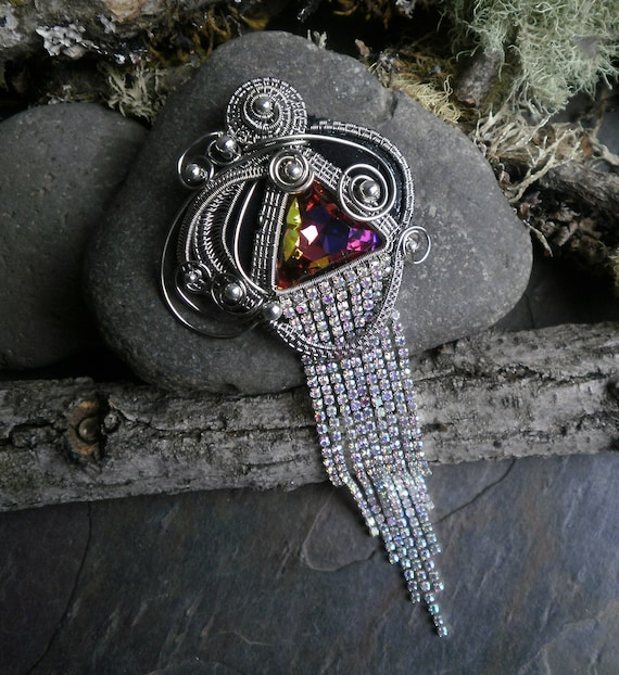 Twisted Sister Arts Woven Wire Pin Pendant with Rhinestones and Crystal Part 2