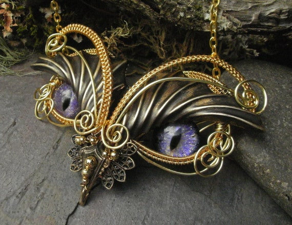 Gothic Steampunk Purple Evil Eye Baby Owl Necklace