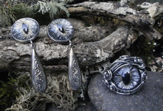 Gothic Steampunk Sterling Silver Eye Ring Size 8 and Matching Earring Set
