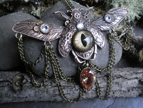 SALE! 30% OFF! Gothic Steampunk Gold Evil Eye Beetle Necklace with Topaz and Clear Cubic Zirconia and Chains