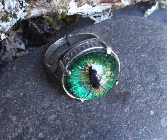 Gothic Steampunk Adjustable Silver Dragon Eye Ring in Green