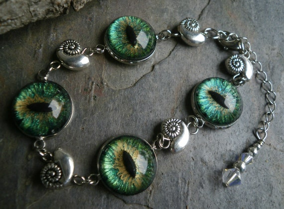 Gothic Steampunk Dark Green Evil Eye Link Bracelet Style 4 The Tiny Snails
