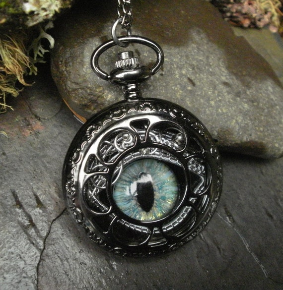 Gothic Steampunk Gold Green Evil Eye Dark Pocket Watch
