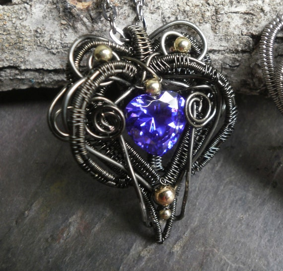 Gothic Dark Heart Pendant with Purple Cubic Zirconia