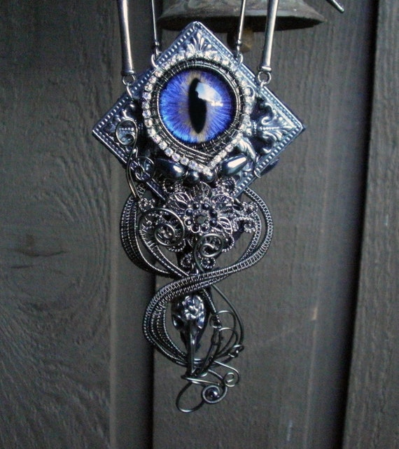 Gothic Steampunk Purple Blue Evil Eye Necklace of the Five Raven Skulls