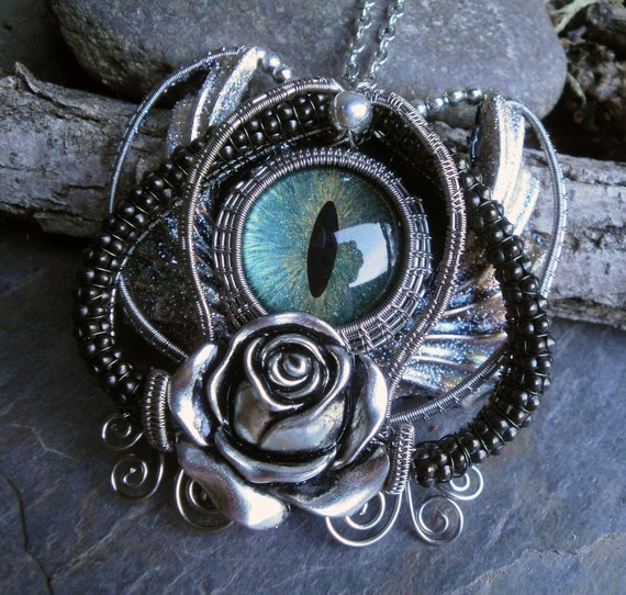Gothic Steampunk Blue Green Evil Eye Pin Pendant with a Rose