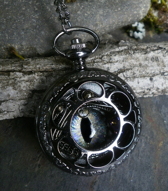 Gothic Steampunk Dark Pocket Watch Case with Opal Blue Eye and Tiny Skull