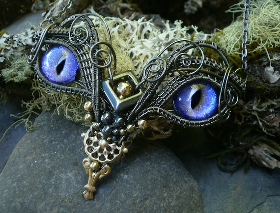 Gothic Steampunk Twisted Sister Arts Baby Owl Necklace with Purple Blue Eyes