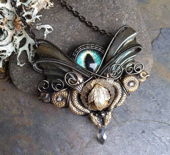 Gothic Steampunk Tiny Blue Green Eye Snake Pendant