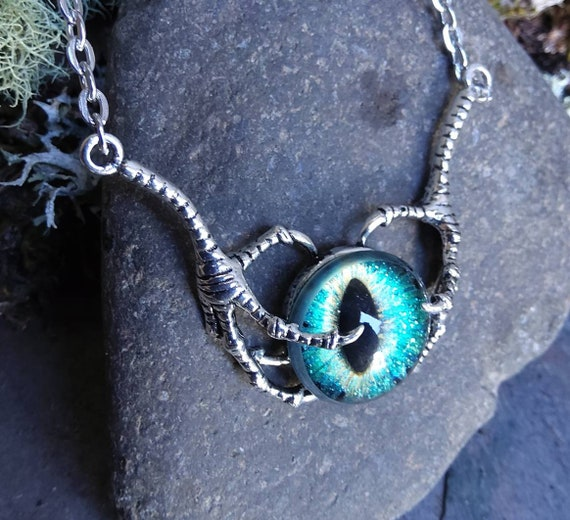 Double Claw Dragon Eye Necklace in Blue Green