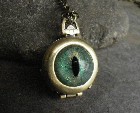 Gothic Steampunk Mint Green Evil Eye 4 Way Locket
