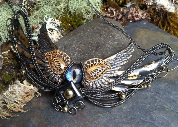 Gothic Steampunk Purple Grey Eye with Wings Necklace