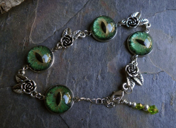 Gothic Steampunk Green Evil Eye Link Bracelet Style The Rose