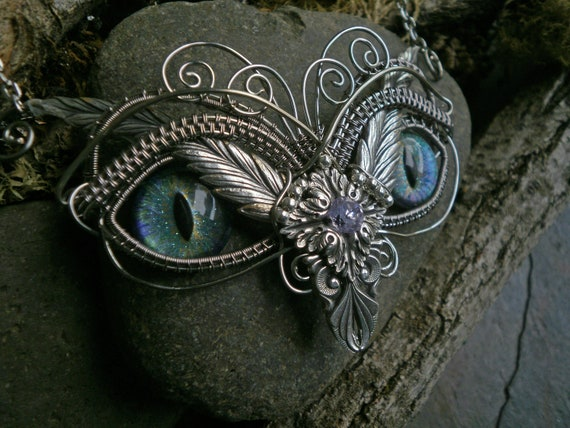 Gothic Steampunk Blue Opal Eye Owl with Lavender Cubic Zirconia Necklace