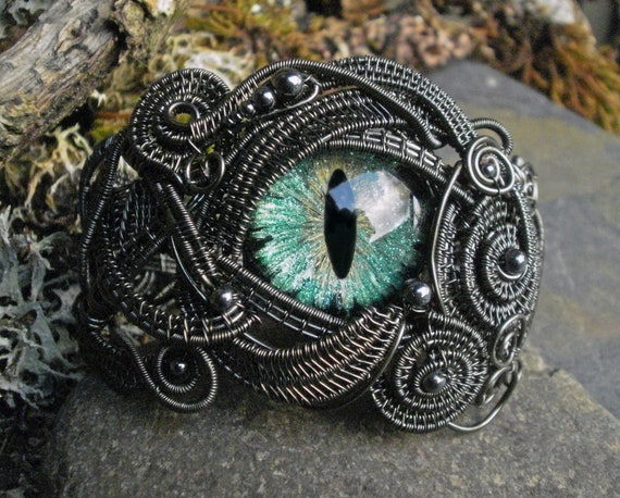 Gothic Steampunk Dark Aqua Evil Eye Cuff Bracelet Adjustable Size 7 to 8