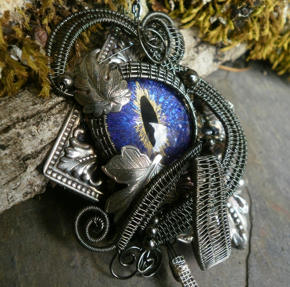 Gothic Steampunk Purple Blue Eye Pin Pendant in Dark Silver
