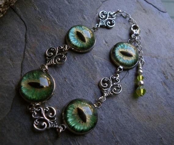 Gothic Steampunk Green Evil Eye Link Bracelet Style 2