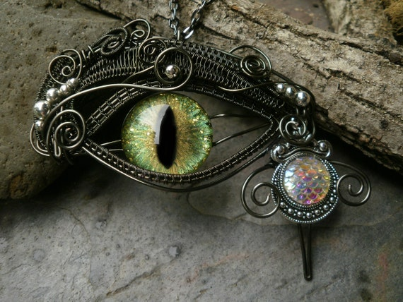 Gothic Steampunk Green Evil Eye with Dragon Scale Tear Large Pendant