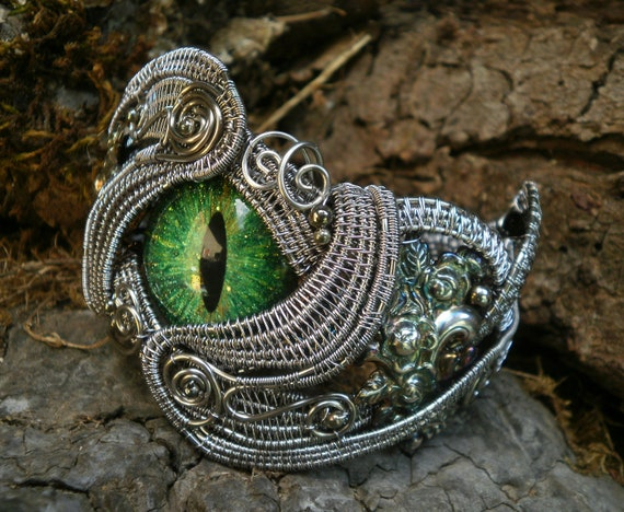 Gothic Steampunk Green Evil Eye Cuff Bracelet Size 7 to 7 1/2 Adjustable