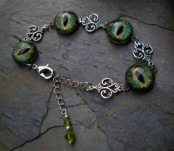 Gothic Steampunk Green Eye Adjustable Bracelet