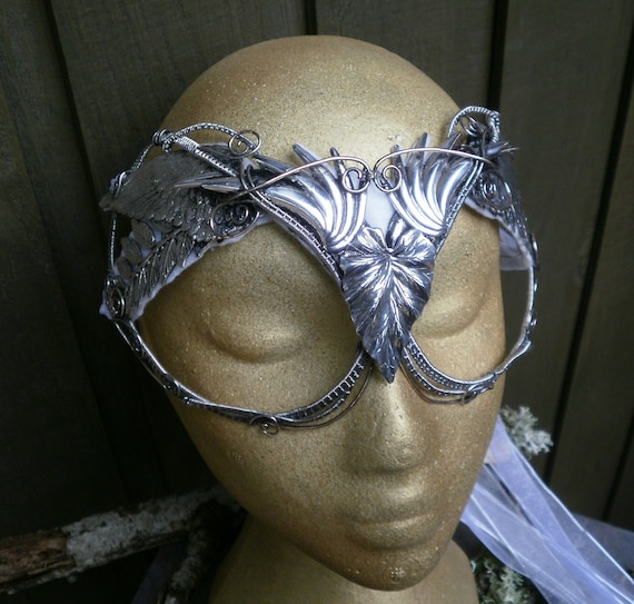 Gothic Steampunk Woven Wire Mask Face with Leaves and Wings