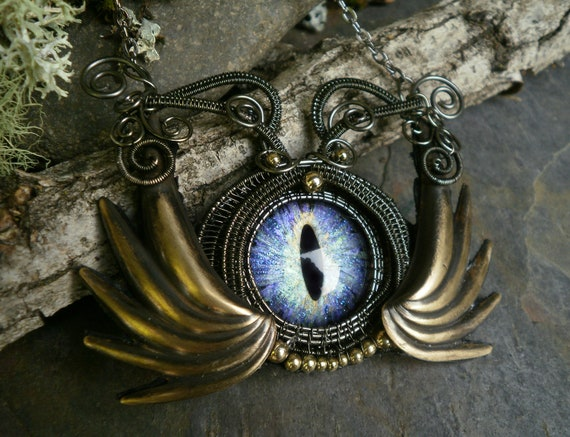 Gothic Steampunk Blue Green Purple Eye with Devils Wings