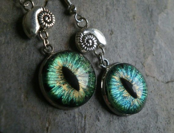 Gothic Steampunk  Dark Green Evil Eye Earrring Style 4 The Tiny Snails
