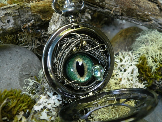 Gothic Steampunk Green Evil Eye Dark Pocket Watch with Tiny Skull