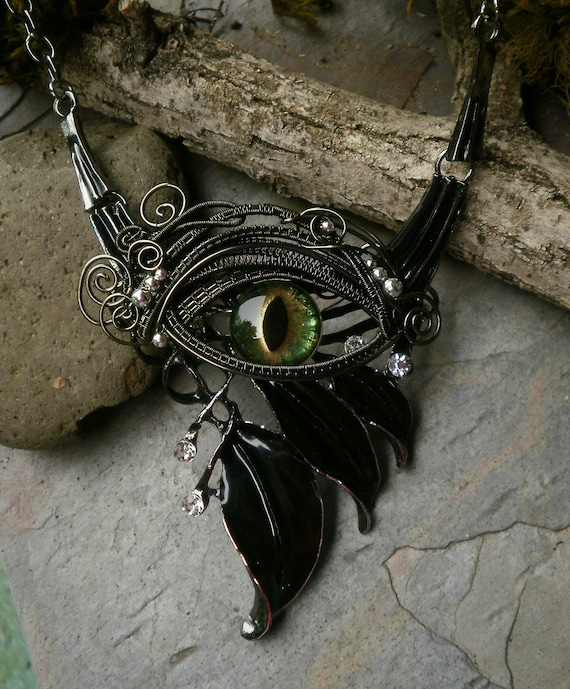 Gothic Steampunk Black Leaves and Green Evil Eye Necklace with Rhinestones