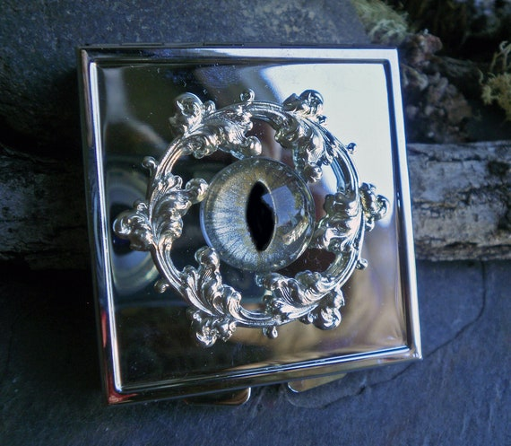 Gothic Steampunk Eye Chrome Pill Box ON SALE