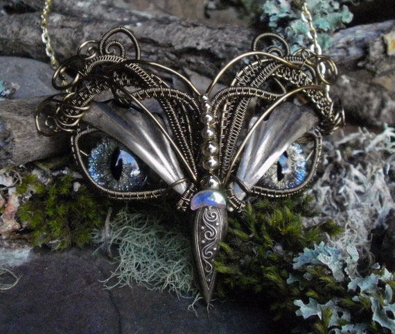 Gothic Steampunk Twisted Sister Arts Bronze Baby Owl Necklace with Galaxy Eyes