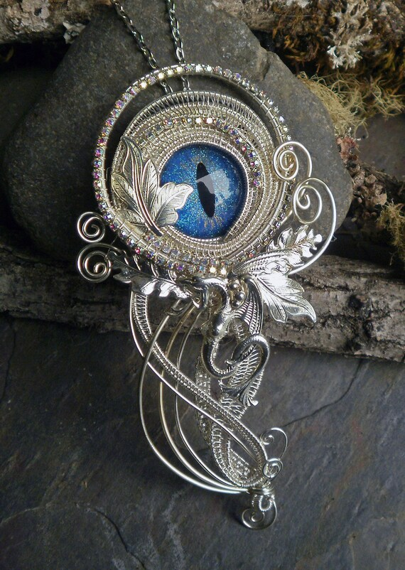 Gothic Steampunk Blue Eye Pin Pendant with Silver Dragon