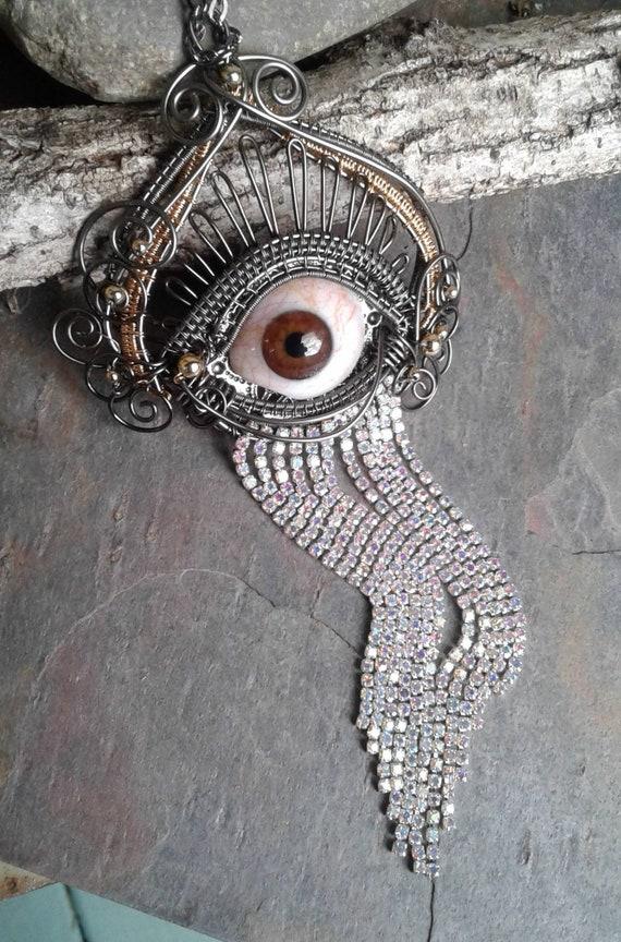 Gothic Steampunk Brown Prosthetic Bloodshot Eye Pendant