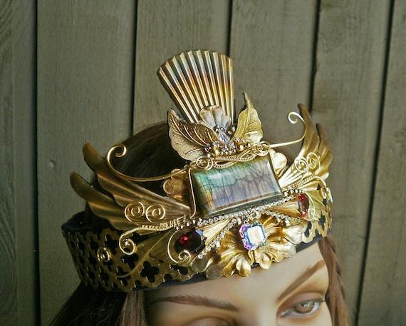 Gothic Steampunk Princess Crown with Swarovski Crystals Medium Size Adjustable